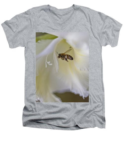 Pollen Carrier Bee Men's V-Neck T-Shirt by Maj Seda