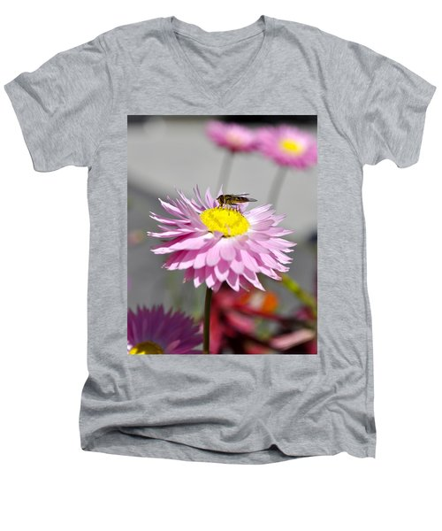 Men's V-Neck T-Shirt featuring the photograph Pollination by Cathy Mahnke