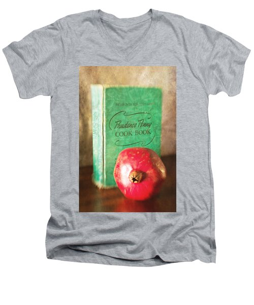 Pomegranate And Vintage Cook Book Still Life Men's V-Neck T-Shirt