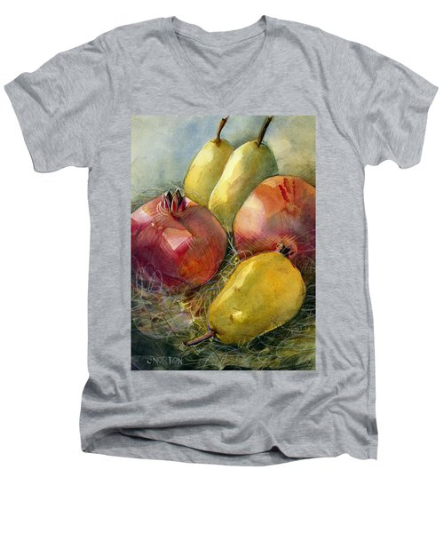 Pomegranates And Pears Men's V-Neck T-Shirt