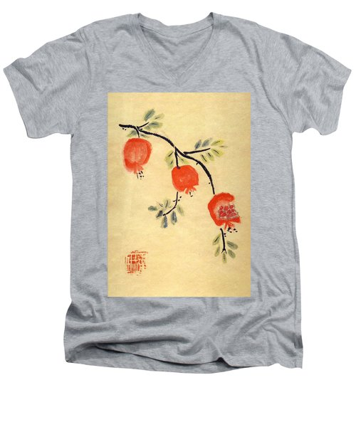 Pomegranates Men's V-Neck T-Shirt