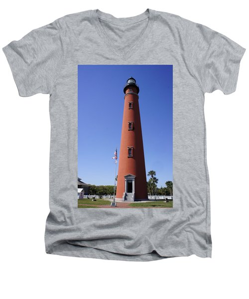 Men's V-Neck T-Shirt featuring the photograph Ponce Inlet Lighthouse by Laurie Perry