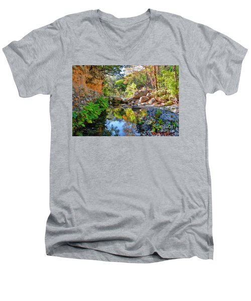 Pond At Lost Maples Men's V-Neck T-Shirt