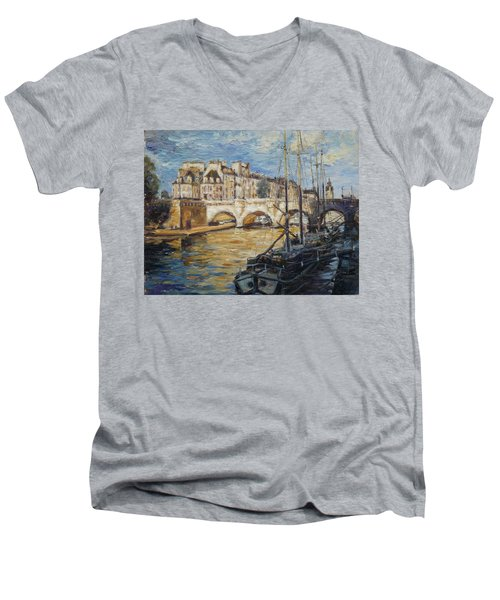 Pont Neuf Paris Men's V-Neck T-Shirt