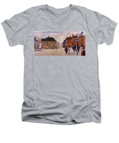 Men's V-Neck T-Shirt featuring the painting Pont Neuf by Walter Casaravilla