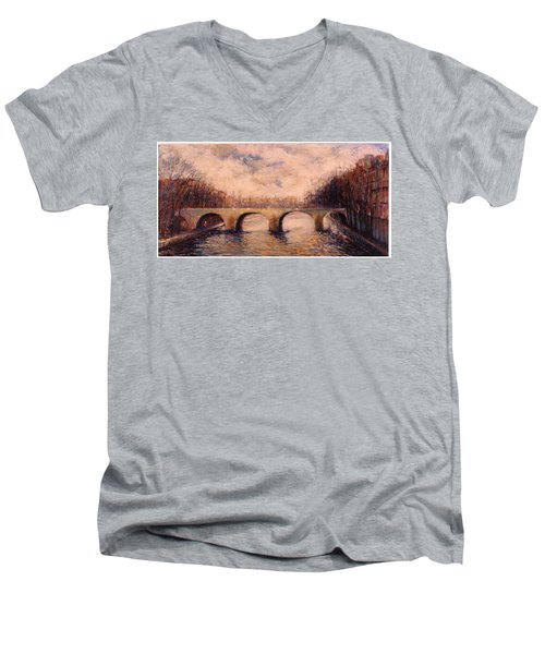 Men's V-Neck T-Shirt featuring the painting Pont Sur La Seine by Walter Casaravilla