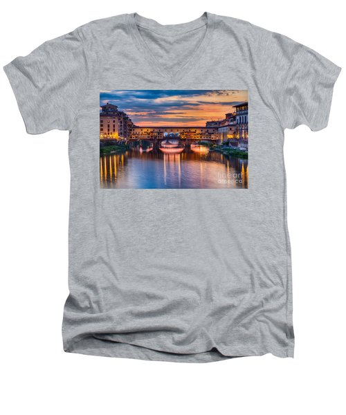 Ponte Vecchio At Sunset Men's V-Neck T-Shirt