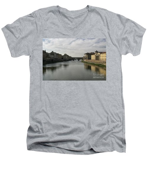 Men's V-Neck T-Shirt featuring the photograph Ponte Vecchio by Belinda Greb