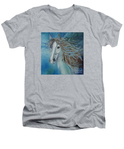 Men's V-Neck T-Shirt featuring the painting Pony by Jenny Lee