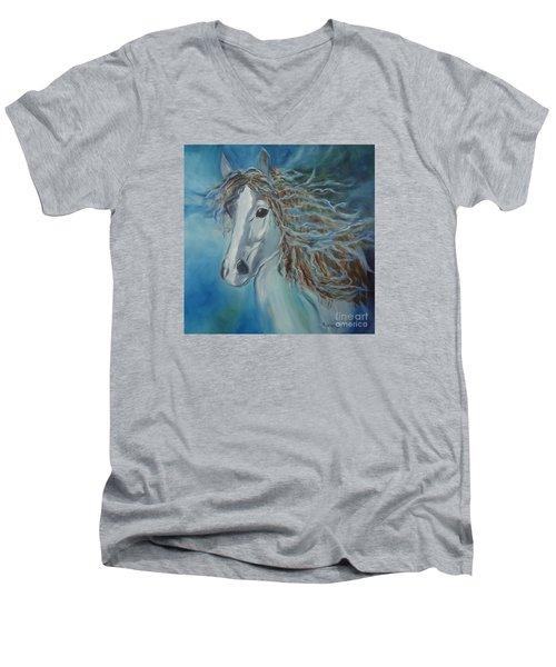 Pony Men's V-Neck T-Shirt by Jenny Lee