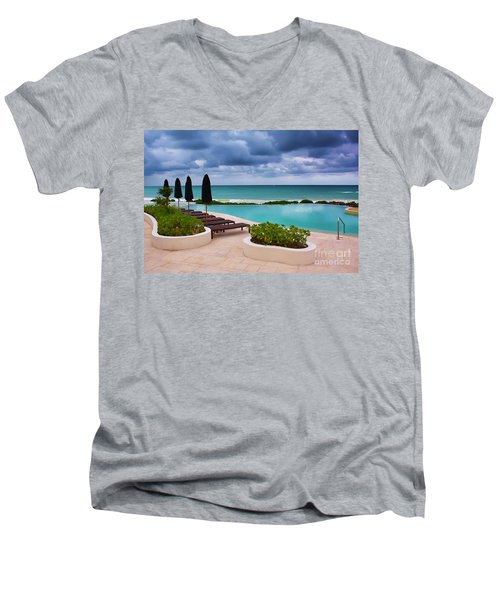 Men's V-Neck T-Shirt featuring the photograph Pool At Rosewood Mayakoba by Teresa Zieba