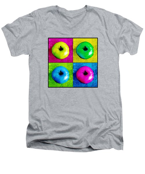 Pop Art Apples Men's V-Neck T-Shirt by Shawna Rowe