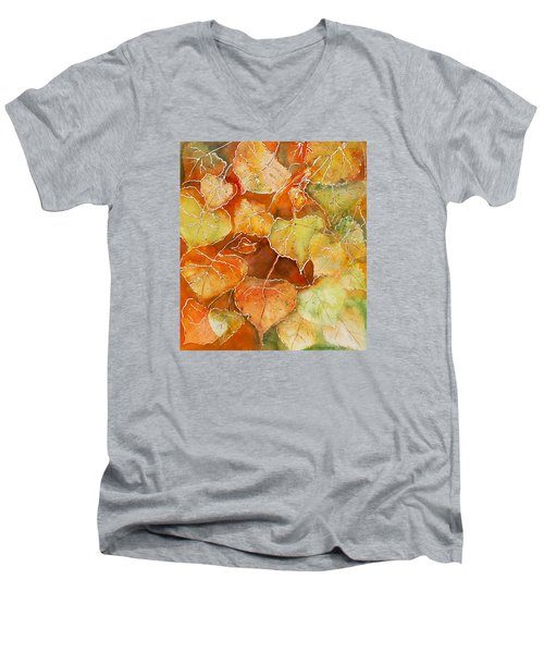 Men's V-Neck T-Shirt featuring the painting Poplar Leaves by Susan Crossman Buscho