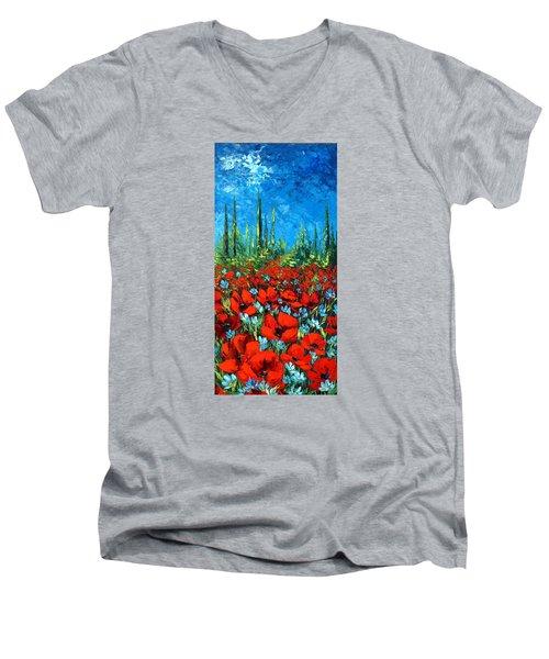 Poppie Field Men's V-Neck T-Shirt by Katia Aho