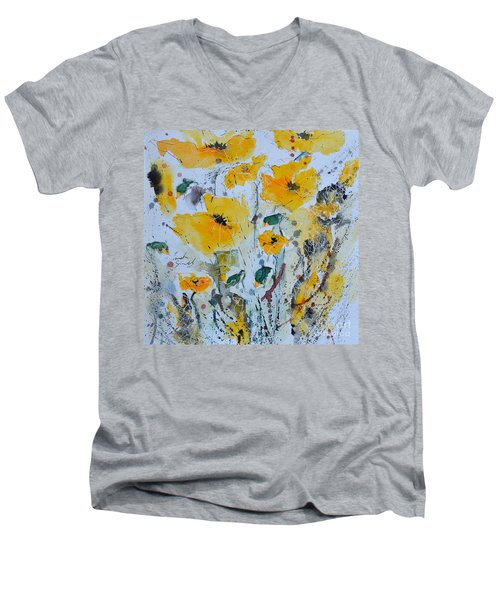 Men's V-Neck T-Shirt featuring the painting Poppies 03 by Ismeta Gruenwald