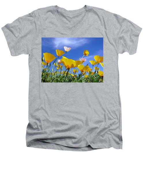 Poppies And Blue Arizona Sky Men's V-Neck T-Shirt by Lucinda Walter