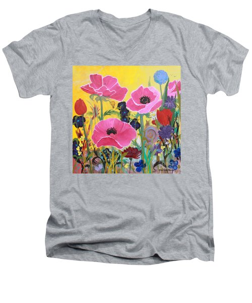 Men's V-Neck T-Shirt featuring the painting Poppies And Time Traveler by Robin Maria Pedrero