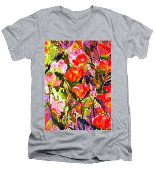 Men's V-Neck T-Shirt featuring the mixed media Poppies by Beth Saffer