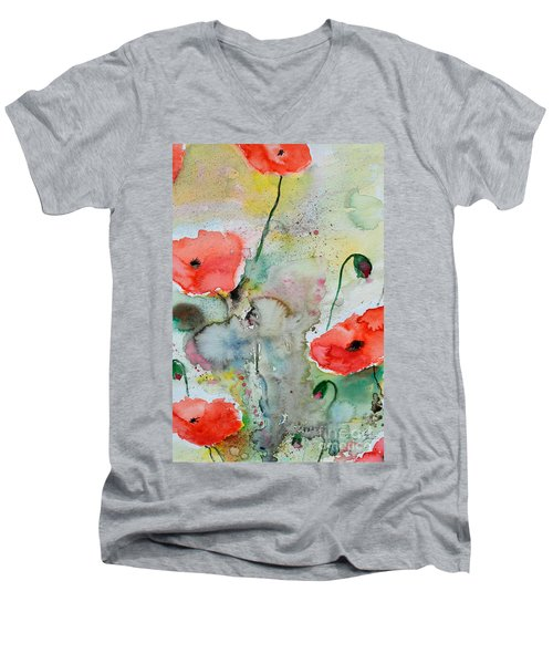 Men's V-Neck T-Shirt featuring the painting Poppies - Flower Painting by Ismeta Gruenwald