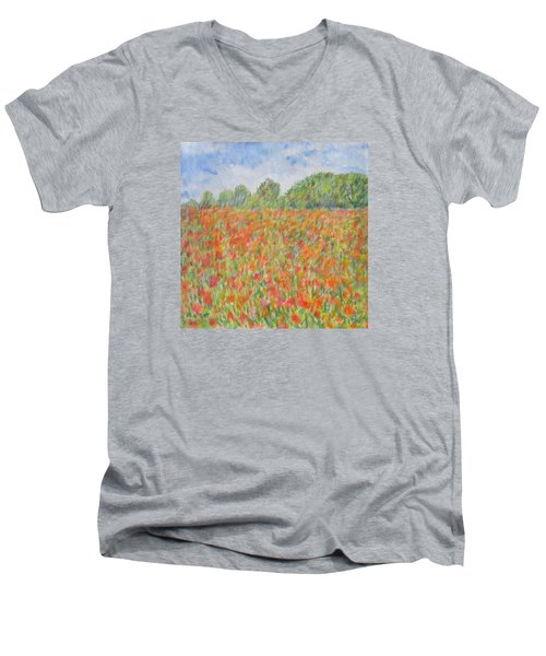 Poppies In A Field In Afghanistan Men's V-Neck T-Shirt