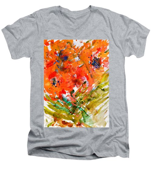 Poppies In A Hurricane Men's V-Neck T-Shirt