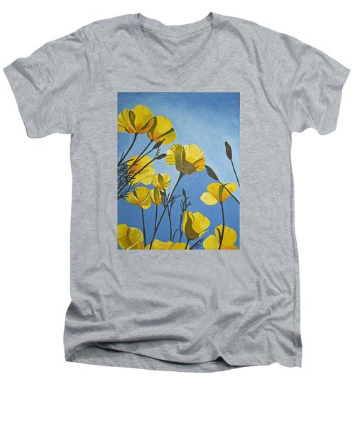 Poppies In The Sun Men's V-Neck T-Shirt by Donna Blossom