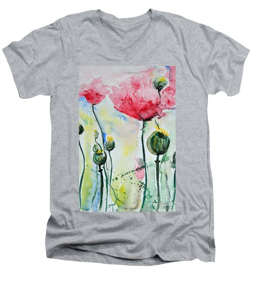 Men's V-Neck T-Shirt featuring the painting Poppies by Ismeta Gruenwald