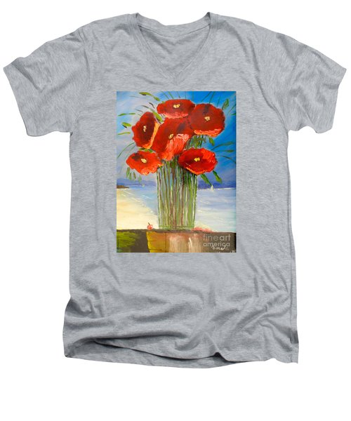 Men's V-Neck T-Shirt featuring the painting Poppies On The Window Ledge by Pamela  Meredith
