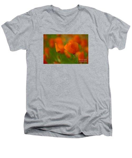 Men's V-Neck T-Shirt featuring the photograph Poppy Art by Nick  Boren