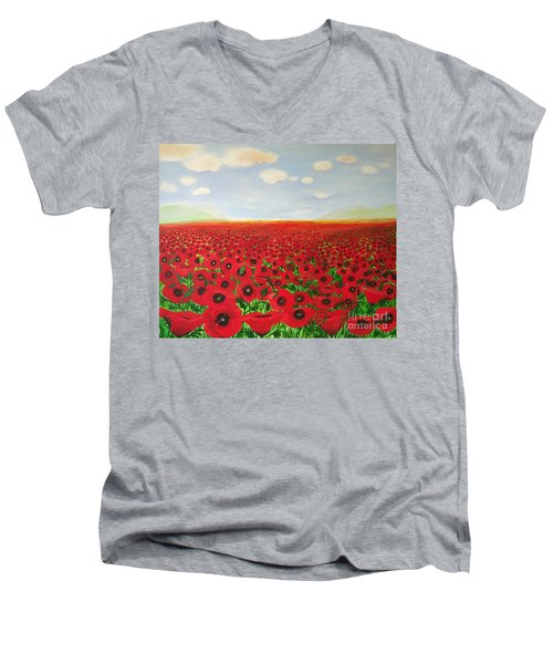 Poppy Fields Men's V-Neck T-Shirt
