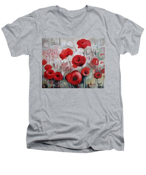 Men's V-Neck T-Shirt featuring the painting Poppy Flowers by Elena Oleniuc