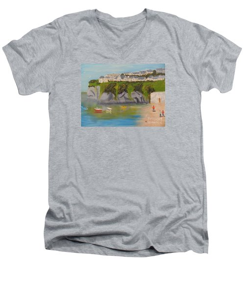 Men's V-Neck T-Shirt featuring the painting Port Asaac Cornwell by Pamela  Meredith