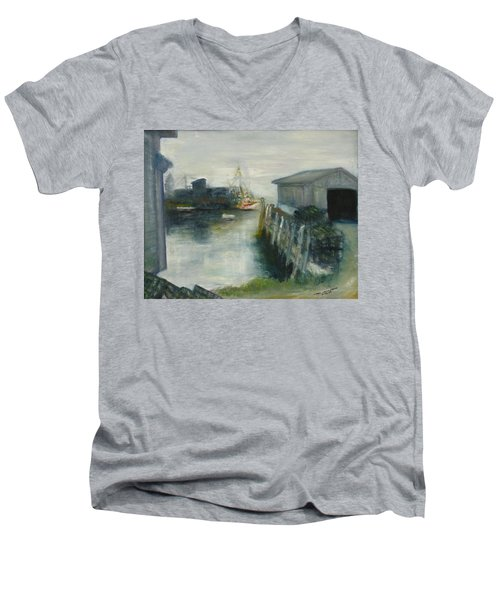 Port Clyde In Fog Men's V-Neck T-Shirt