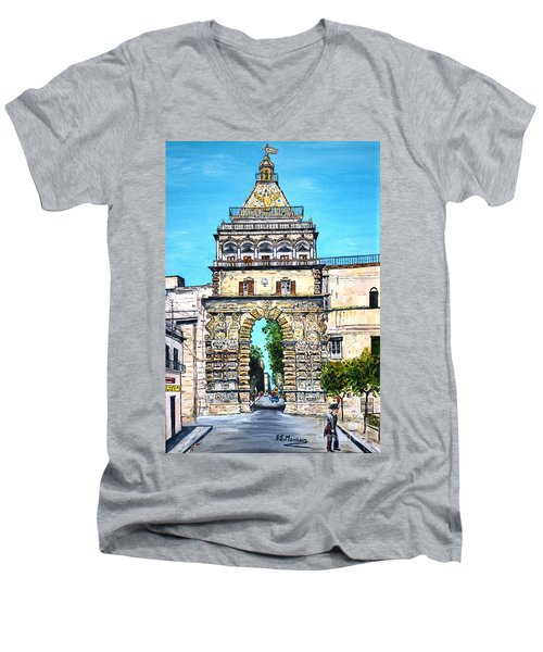 Porta Nuova - Palermo Men's V-Neck T-Shirt by Loredana Messina