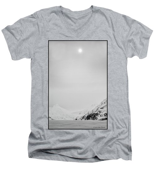 Portage Lake In Fog Men's V-Neck T-Shirt