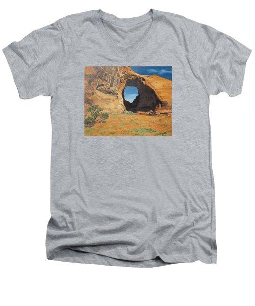 Portal At Window Rock  Men's V-Neck T-Shirt by Barbara Barber
