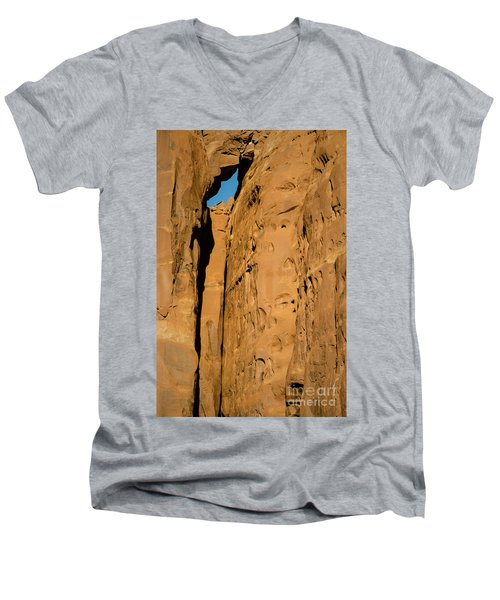 Men's V-Neck T-Shirt featuring the photograph Portal Through Stone by Jeff Kolker