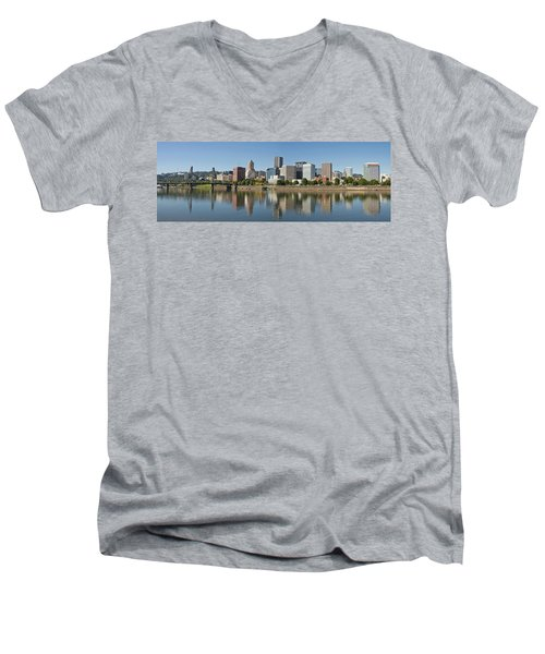 Men's V-Neck T-Shirt featuring the photograph Portland Downtown Waterfront Skyline Panorama by JPLDesigns
