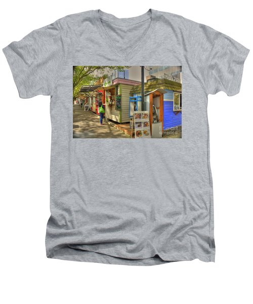 Portland Food Carts Men's V-Neck T-Shirt by David Bearden
