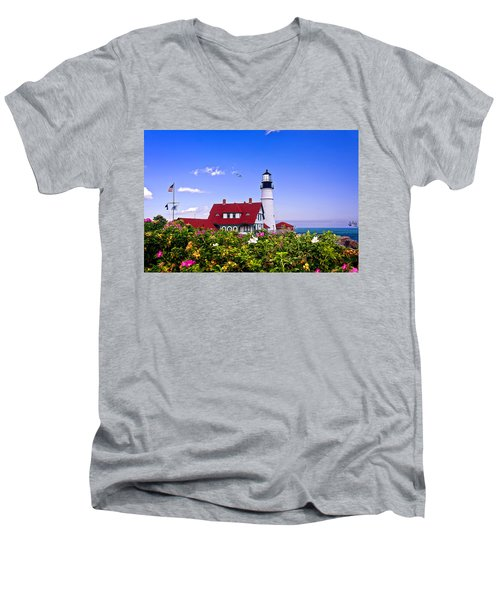 Portland Head Light And Roses Men's V-Neck T-Shirt
