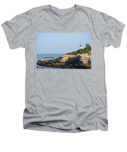 Portland Head Light In Summer Men's V-Neck T-Shirt