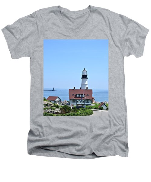 Portland Head Light Men's V-Neck T-Shirt by Tara Potts
