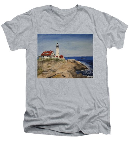 Portland Head Lighthouse In Maine Men's V-Neck T-Shirt