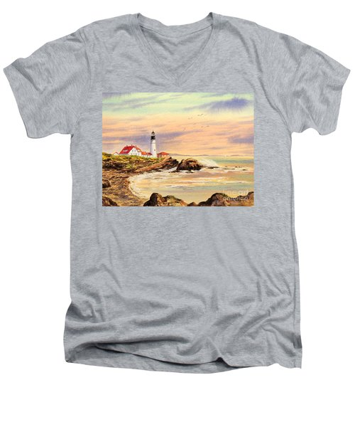 Men's V-Neck T-Shirt featuring the painting Portland Head Lighthouse Maine by Bill Holkham