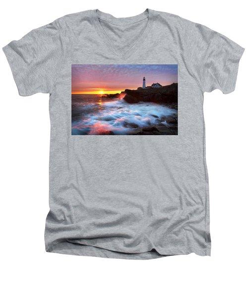 Portland Head Sunrise Men's V-Neck T-Shirt