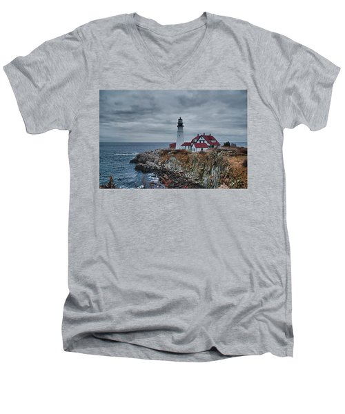 Men's V-Neck T-Shirt featuring the photograph Portland Headlight 14440 by Guy Whiteley