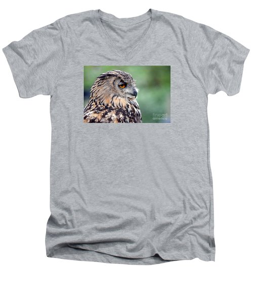 Men's V-Neck T-Shirt featuring the photograph Portrait Of A Great Horned Owl by Jim Fitzpatrick
