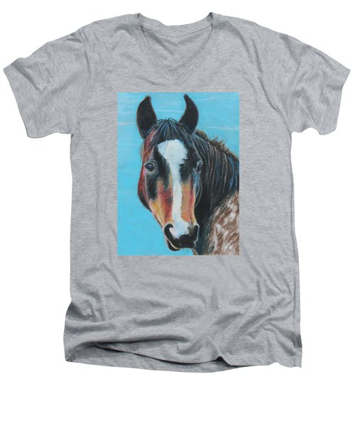 Portrait Of A Wild Horse Men's V-Neck T-Shirt by Jeanne Fischer