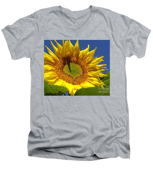 Men's V-Neck T-Shirt featuring the photograph Portrait Of A Sunflower by Diane Miller