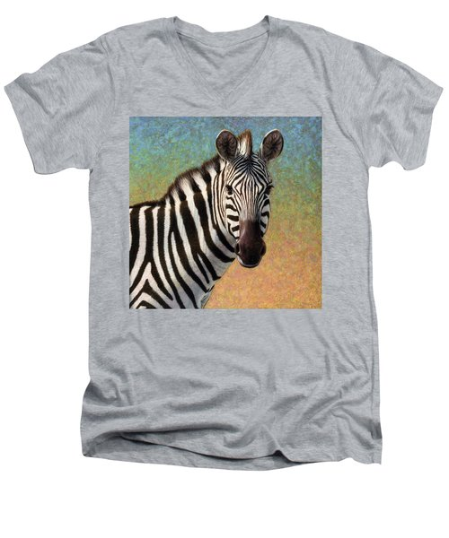 Men's V-Neck T-Shirt featuring the painting Portrait Of A Zebra - Square by James W Johnson